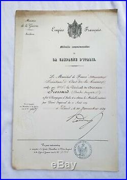 Diplôme de la médaille d'Italie 1859, Général de Division Frossard