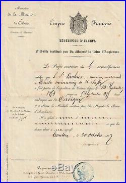 Diplôme de la médaille expédition d'Orient (Crimée) pour un un Marin du Cacique
