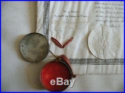 Diplôme en peau de lordre de saint Louis avec sceau 1824