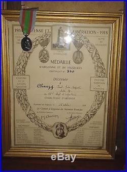 Diplome et medaille Argonne et vauquois 55 e RI french medal 1914-1918