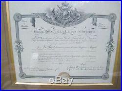 Diplôme médaille de Sainte Hélène Empire et ordre royal de la Légion d'honneur