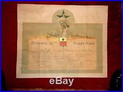 Diplome medaille militaire campagne du dahomey Porto-Novo etoile noire Benin