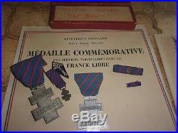 ENSEMBLE D'UN MARIN DE LA FRANCE LIBRE DIPLOMES+MéDAILLES+INSIGNES FRANCE LIBRE