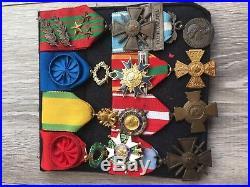 EXT Beau placard de médailles militaires guerre 39 45 orient french medal