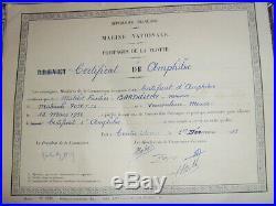 Ensemble 6 Diplomes Fusilier Marin Commando Siroco Cap Matifou Algerie