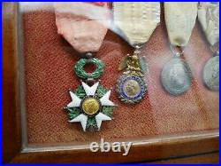 Ensemble de médailles Napoléon III, Chine, Mexique, Légion d'honneur, Cadre, XIX