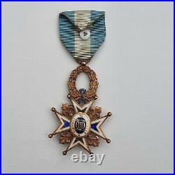 Espagne Ordre de Charles III, croix de chevalier en or, dans son écrin