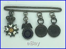 FRANCE -BARRETTE réductions II E LH CH, Médaille Militaire, Italie, Mexique