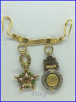 FRANCE CHAÎNETTE EN OR Médaille Militaire + Officier Ouissam Alaouite