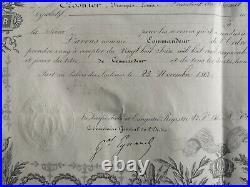 France Diplome De Commandeur De La Légion D'honneur Second Empire 1860