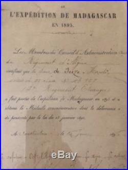 France Diplome Expedition Madagascar 1895 Legion étrangère