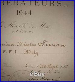 France diplôme médaille de Metz FFI