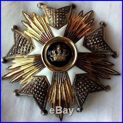 Grand Plaque Croix De L Ordre De La Couronne Belges Argent Massif & Vermeil