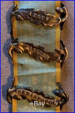 Grande Bretagne Médaille de Crimée 3 agrafes, Sebastopol, Tracktir, Azoff