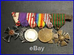 H12 Superbe barrette de médailles militaires guerre 14 18 french medal N°1