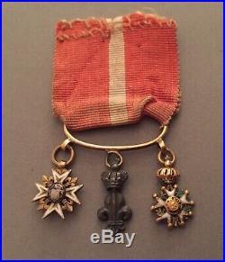 Jolie barette de miniatures Restauration Saint Louis, Lys, Légion dhonneur