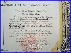 Laos Diplome de Grand Officier du Million d'Elephants, 1941, General Mordant