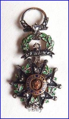 Légion d'Honneur Médaille réduction en argent massif + diamants + or 19e siècle