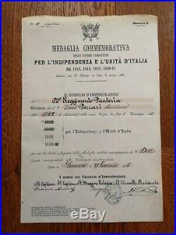 Lot Diplomes Médaille Pour La Guerre D'indépendance & L'unité De L'italie Brevet