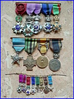 Lot de décorations militaires belges sur barettes