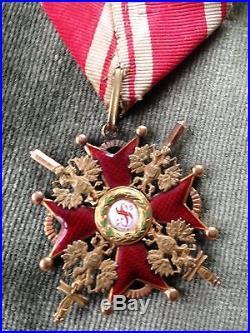 Médaille russe de l'ordre de Saint Stanislas 3ème classe Or et émail