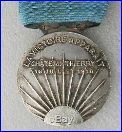 MEDAILLE DE CHATEAU THIERRY WW1 1914-1918 rare modèle avec les têtes à droite