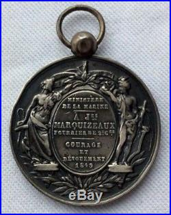 Medaille Argent Ministere De La Marine Courage & Devouement. Attribuee En 1849