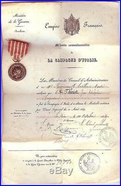Médaille Campagne d'ITALIE 1859 Napoléon III avec son diplôme