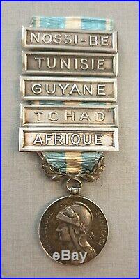 Medaille Coloniale Avec 5 Barrettes Argent
