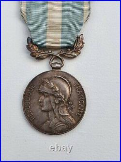Médaille Coloniale, barrette à clapet en argent Congo