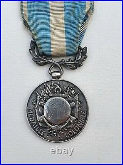 Médaille Coloniale, barrette à clapet en argent Nouvelle Calédonie