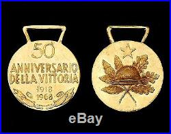 Médaille Commémorative en OR 750°, 50°Anniv. Victoire en 1°GM. 1918-68. Italie