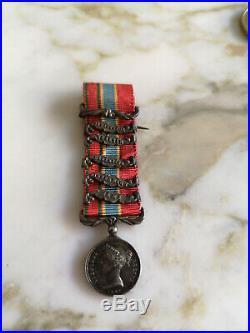 Médaille De Crimée 1854 Miniature Argent 5 Agrafes Ruban MIX Napoleon III Empire