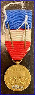 Médaille Décoration En Or Marine Honneur Travail Devouement