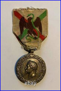 Médaille Expédition Du Mexique 1862-63 Argent Barré Napoléon III Second Empire