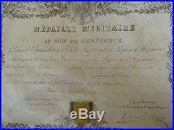Médaille Militaire Diplome Napoléon III attribué 3é Régiment Infanterie Marine