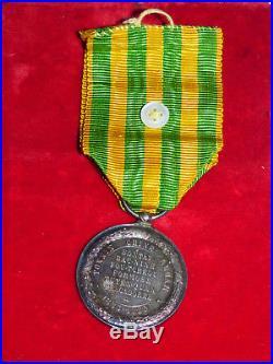 Medaille Tonkin-chine-annam 1883-1885 En Argent, Dans Cadre Cuivre Argente