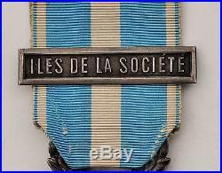 Médaille coloniale, argent, barrette Iles de la Société
