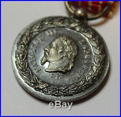Médaille commémorative de la campagne d'Italie 1859, Napoleon 3. + miniature