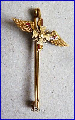 Médaille croix de guerre aviateur aviation en OR massif + émail 1918 épingle