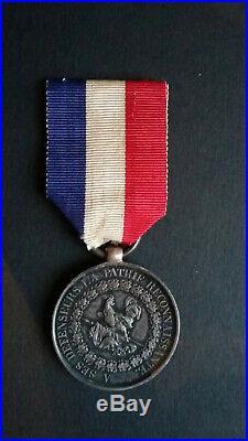 Médaille de Juillet. En argent non poinçonné. Donné par le Roi des Français
