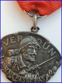 Médaille de Verdun, 1914-1918, modèle de Dutemps, en argent