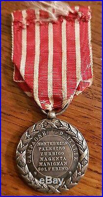 Médaille de la campagne d'italie en argent signée falot