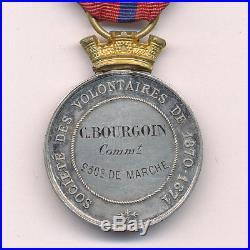 Médaille de la société des volontaires de 1870 1871 attibuée à un commandant