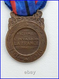 Médaille des Victimes de l'Invasion, 1914-1918, bronze, barrette Otage de Guerre