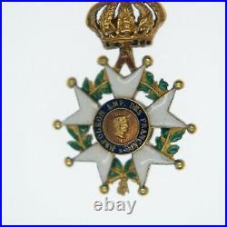 Médaille miniature d'officier de la légion d'honneur en or. Epoque Second Empire