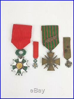 Medailles 14/18 croix de guerre et legion d'honneur