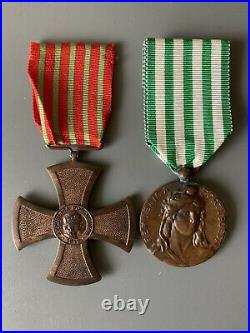 Médailles PORTUGAL WW1 Croix de Guerre 1917 + Comportement Exemplaire 1910