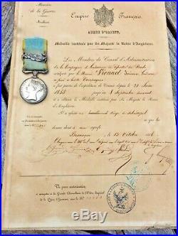 Médalle De Crimée Sebastopol En Argent Avec Son Diplome