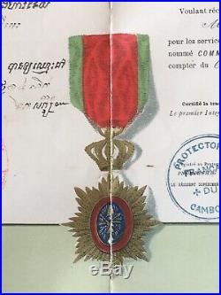 Militaria Décoration Médaille Diplôme Commandeur Ordre Royal du Cambodge XIX ème